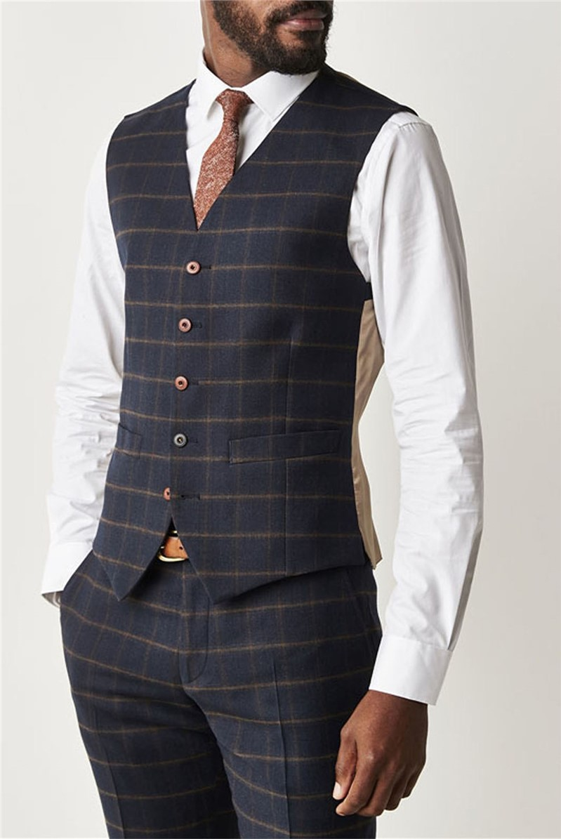 Gibson Mayfair Navy & Coffee Checked Slim Fit Waistcoat