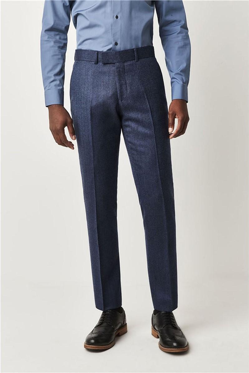 Blue Herringbone Trousers
