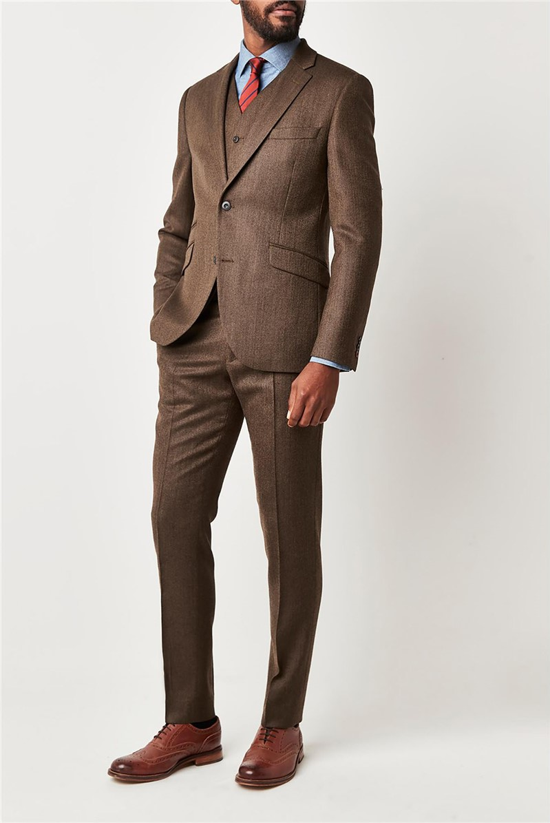Coffee Herringbone Slim Fit Suit