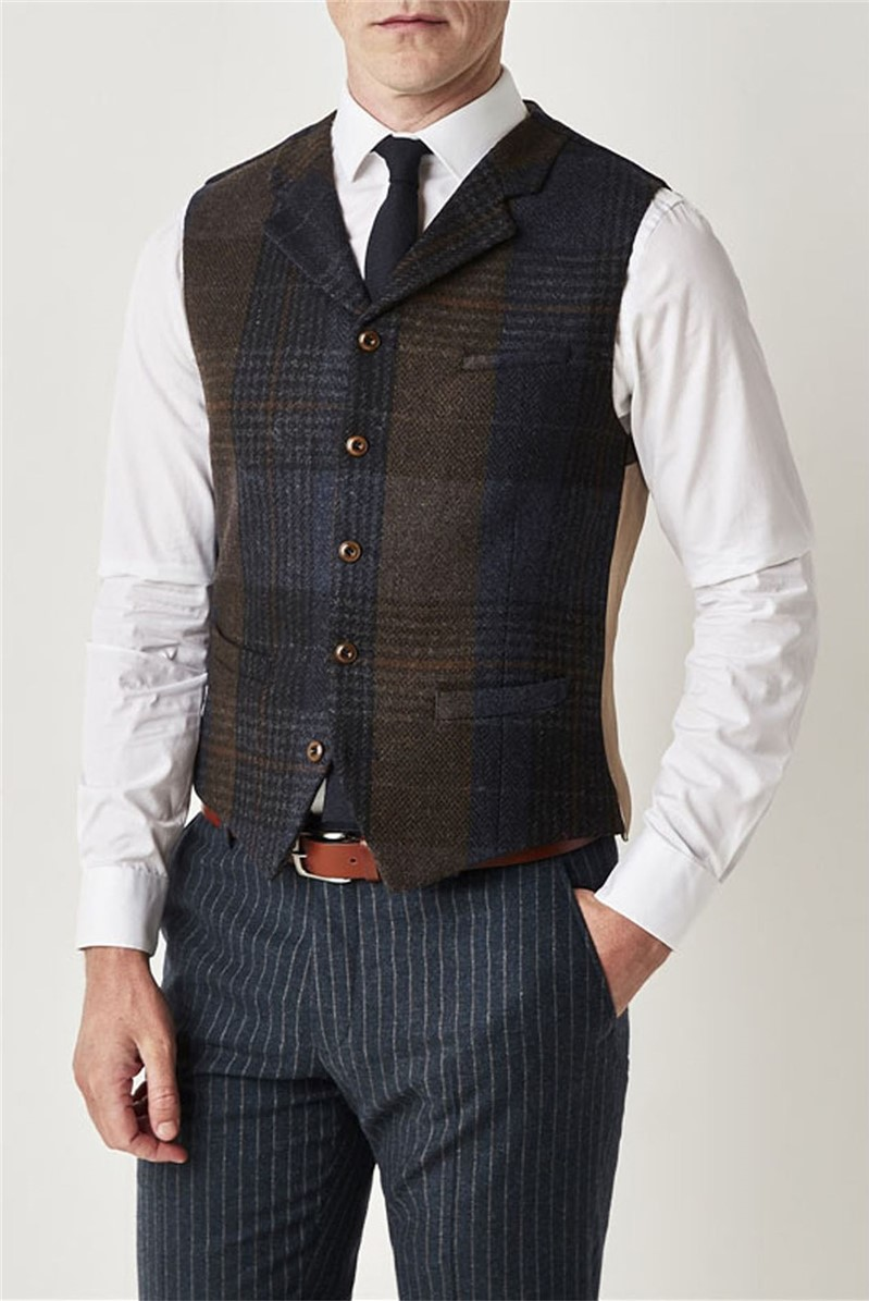 Blue and Brown Check Waistcoat