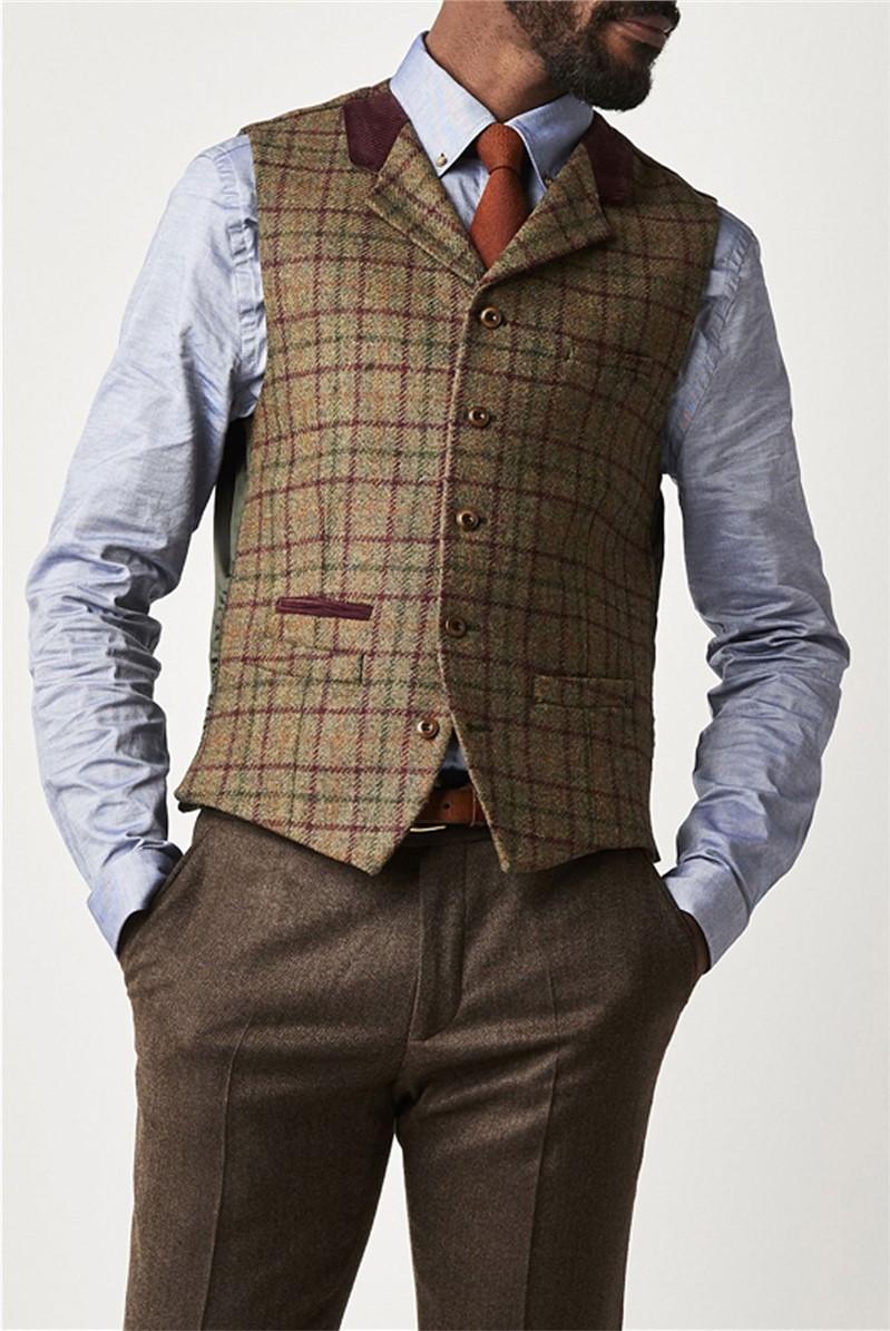 Green and Burgundy Check Waistcoat