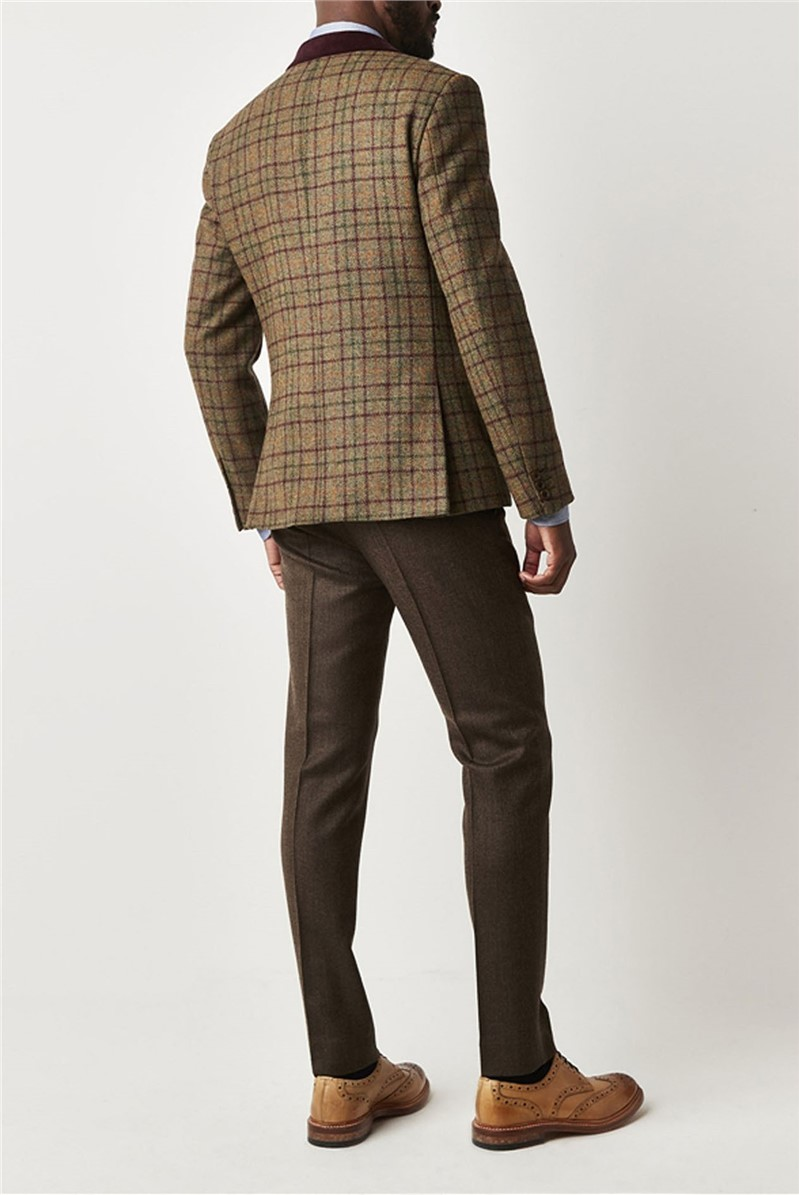 Green and Burgundy Check Jacket