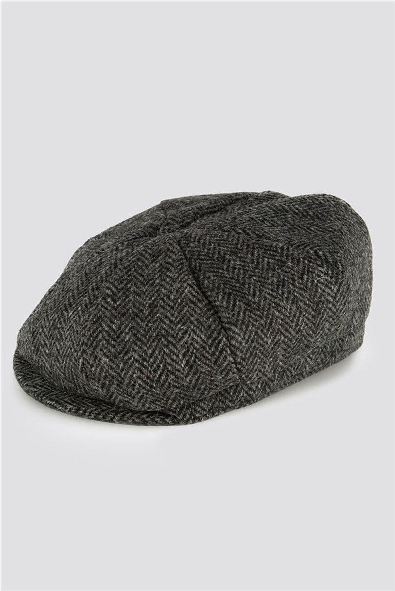 Black Tweed Bakerboy Hat
