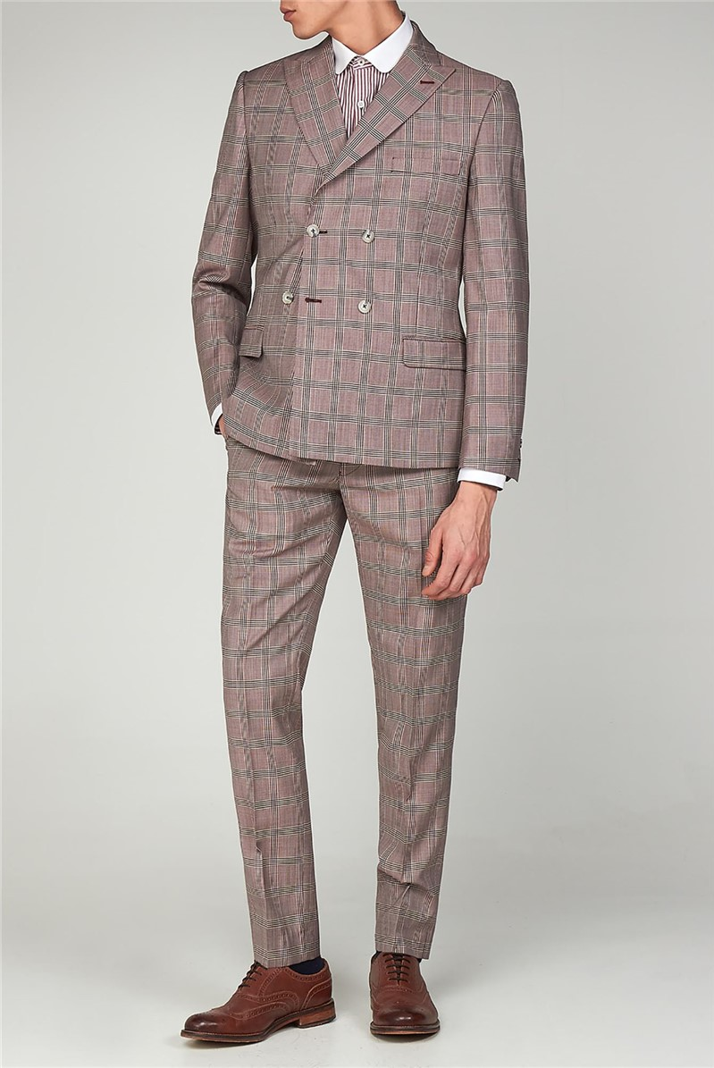 Pink Checked Double Breasted Suit