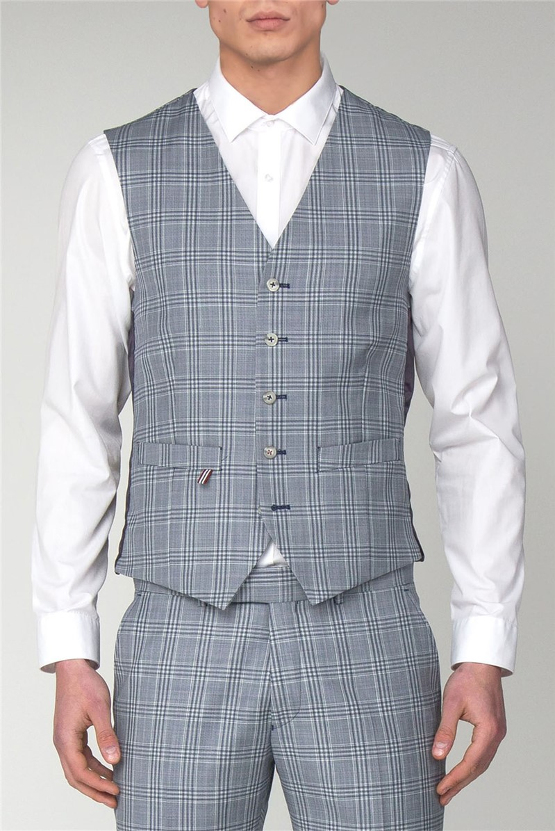Gibson London BLUE CHECK VEST