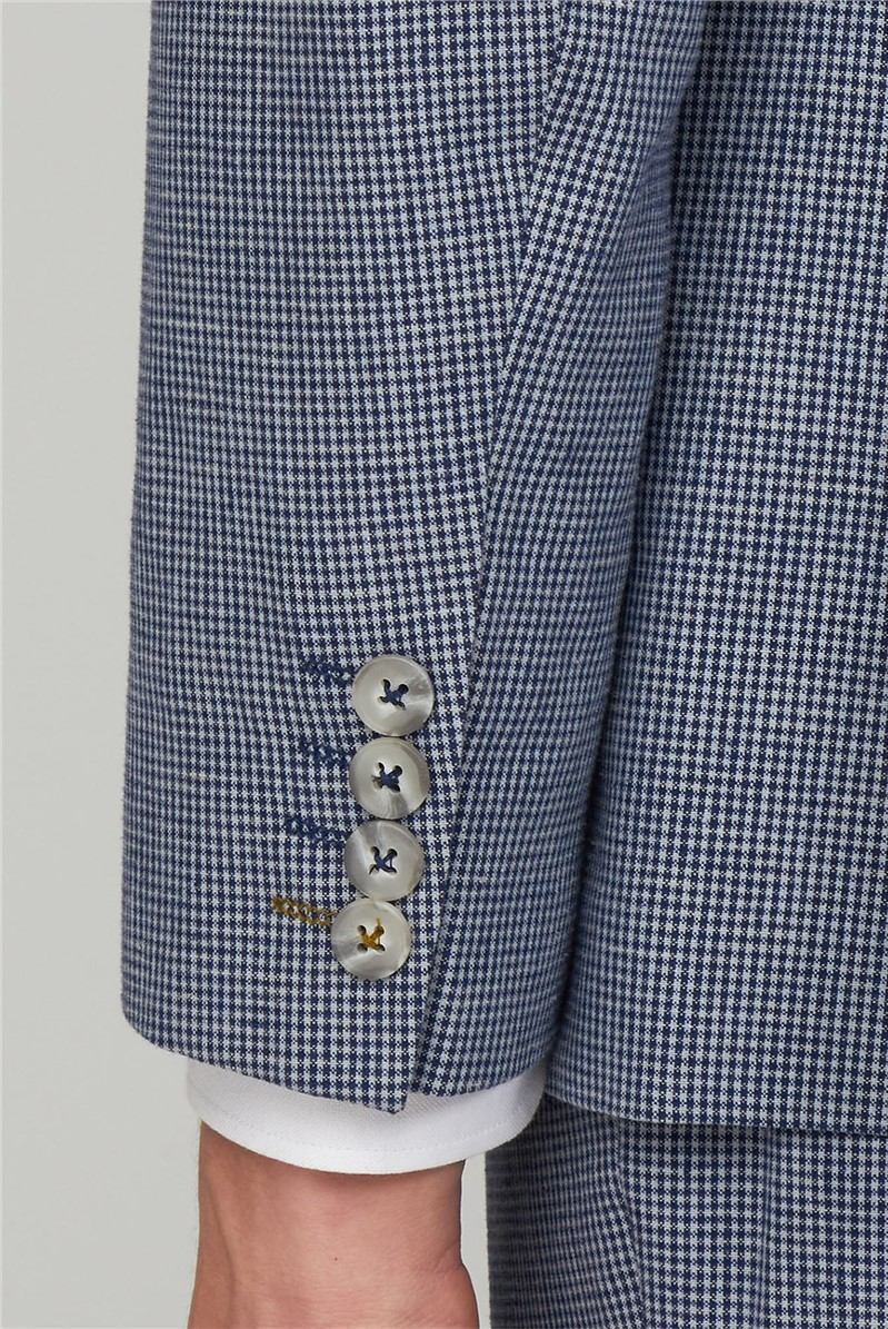 Navy Micro Check Trousers