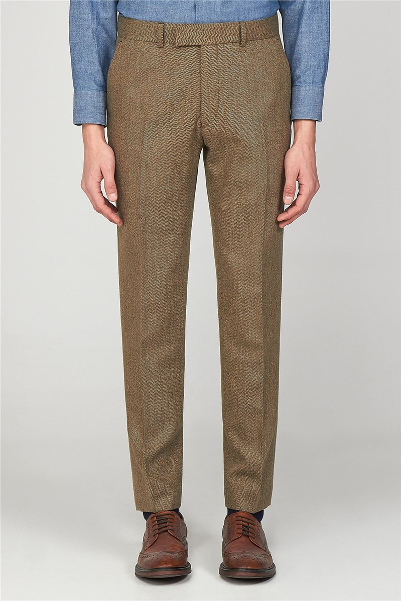 The Pimlico Men''s Brown Herringbone Slim Fit Trousers