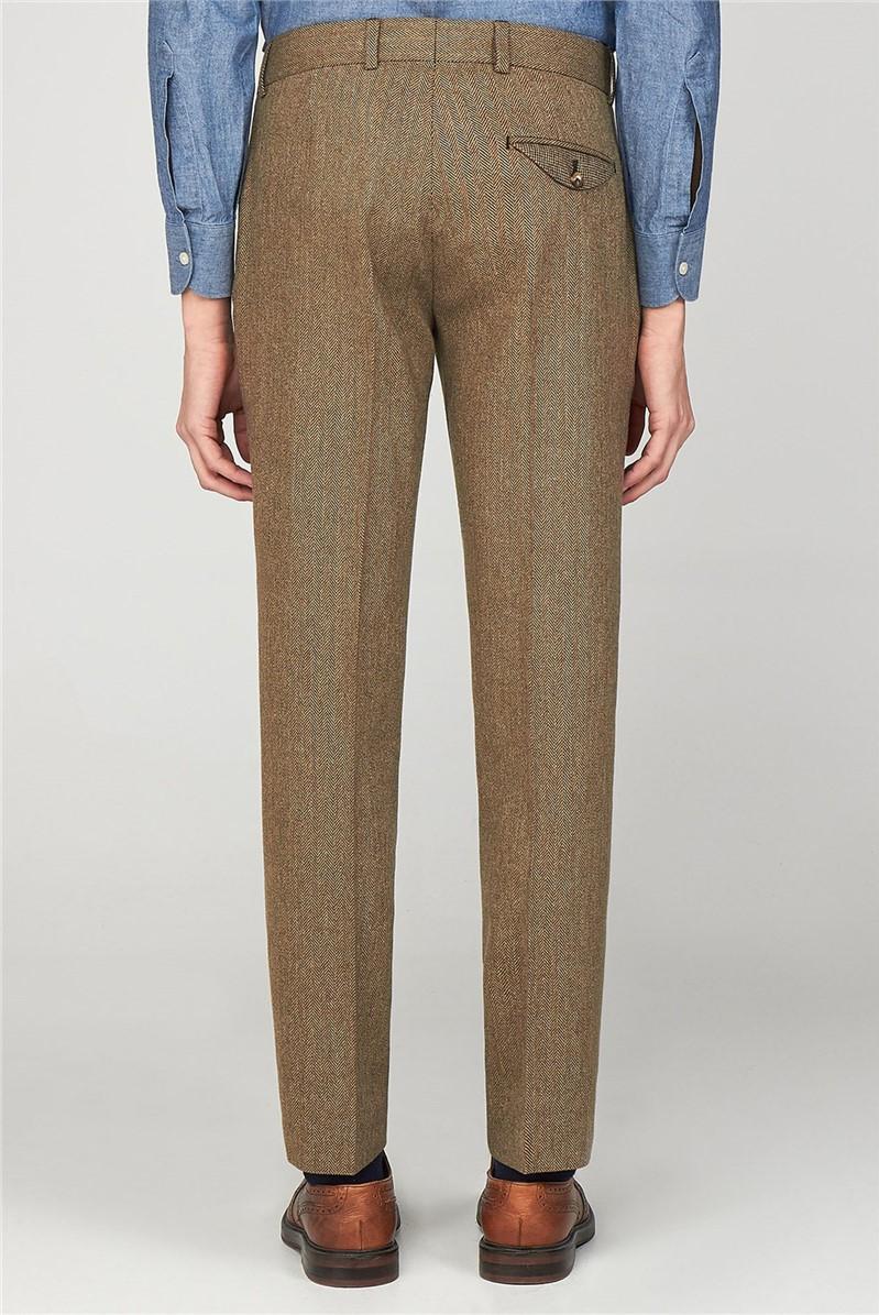 Pimlico Men's Brown Herringbone Slim Fit Trousers