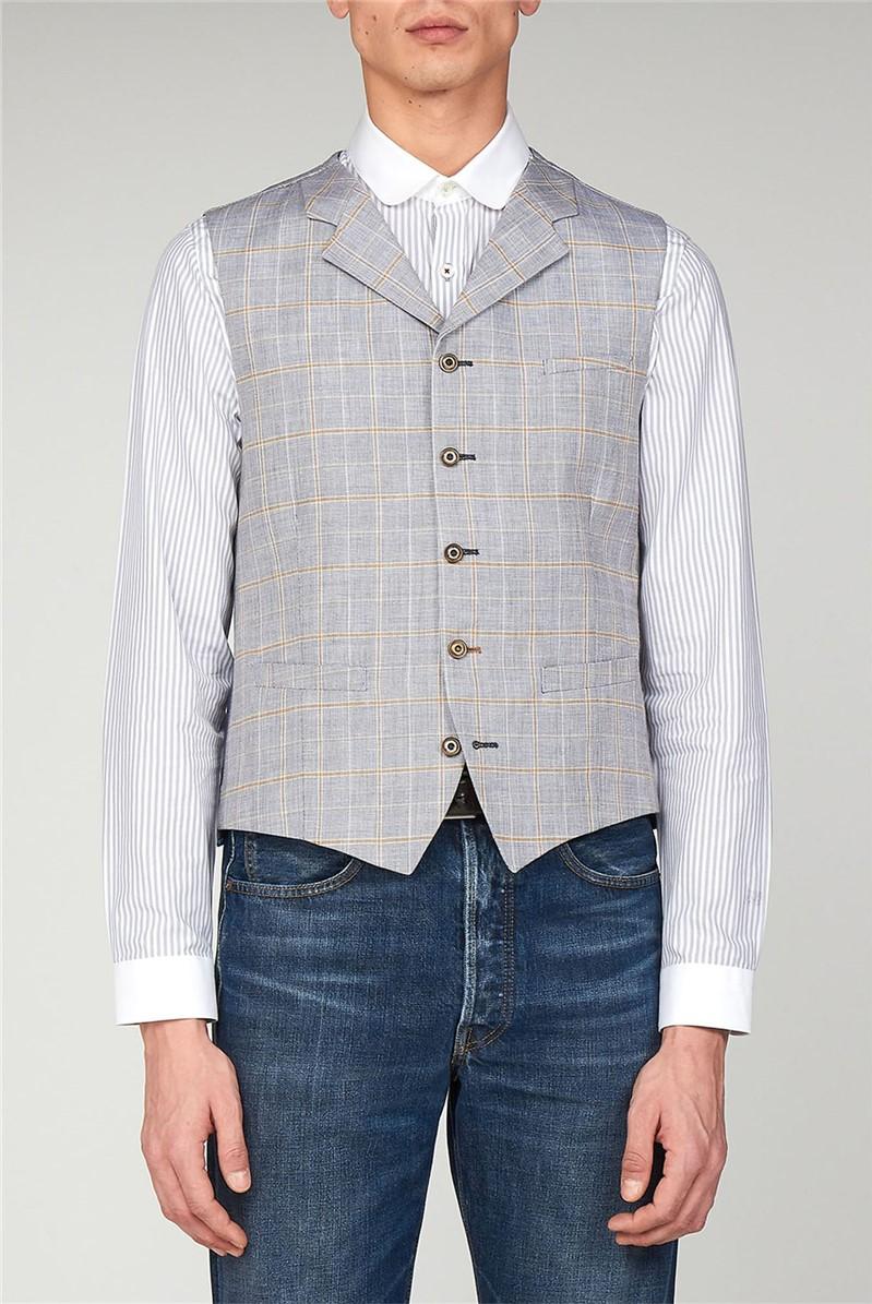 Pale Blue Linen Check Waistcoat