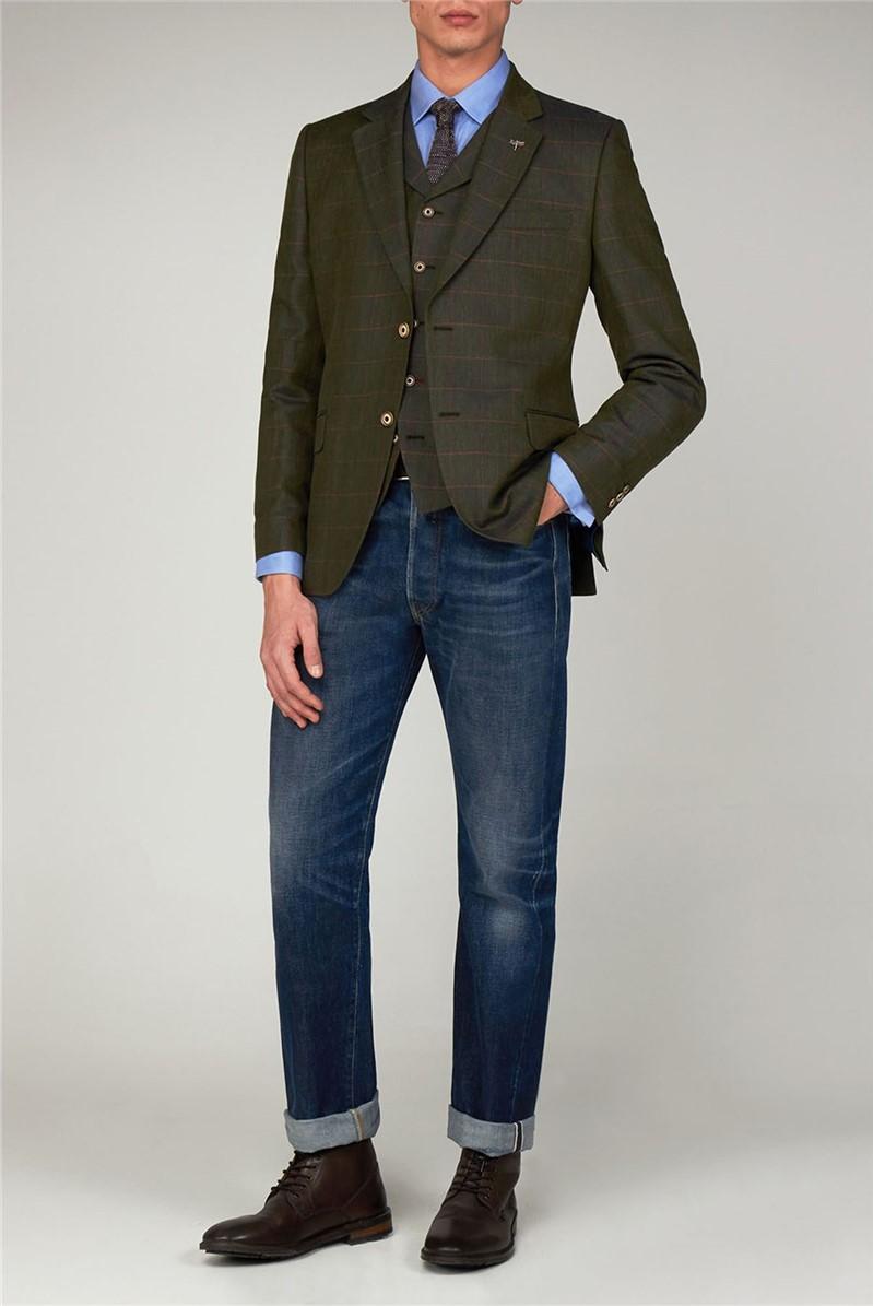 Green Linen Check Jacket