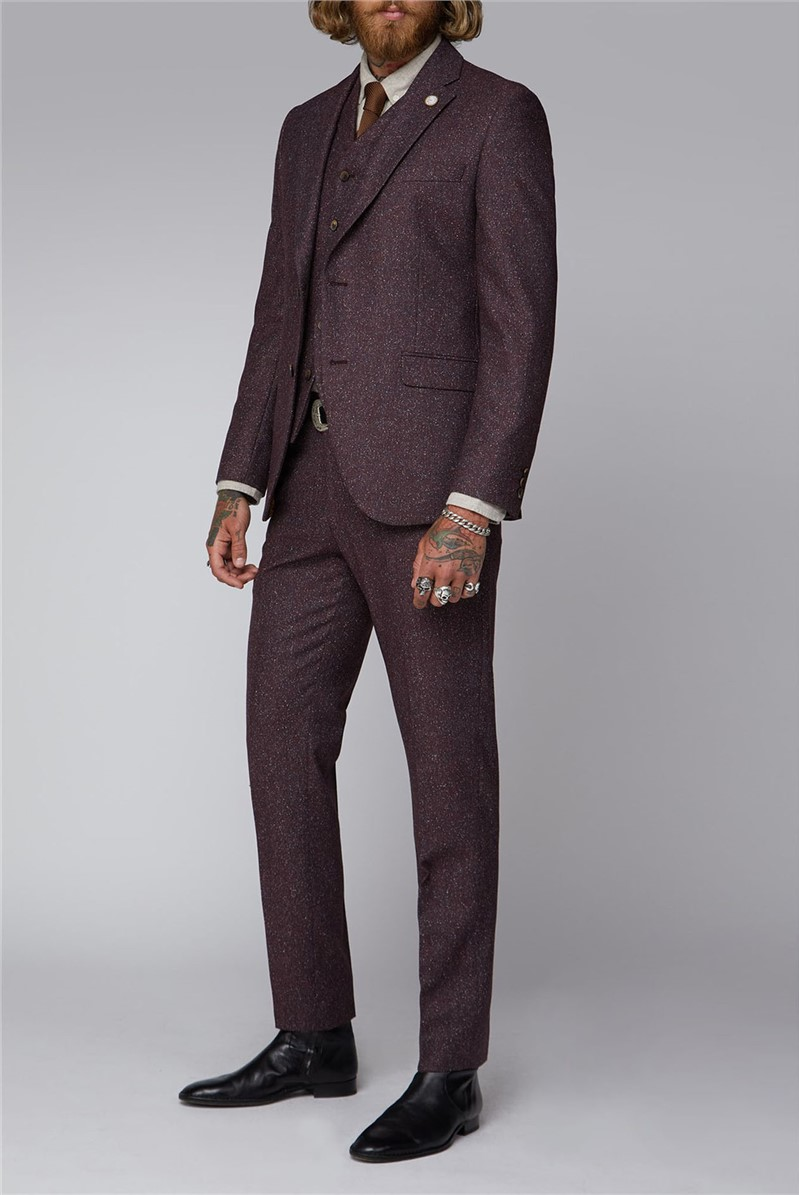 Berry Speckle Three Piece Tweed Suit