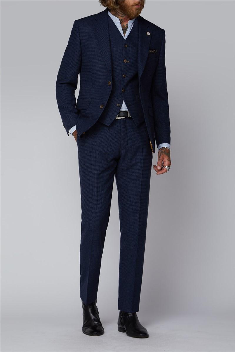 Dark Blue Puppytooth Tweed Suit
