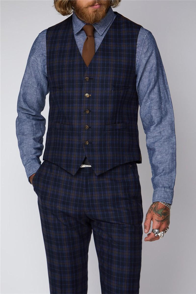 Bouch Blue & Brown Tartan Waistcoat