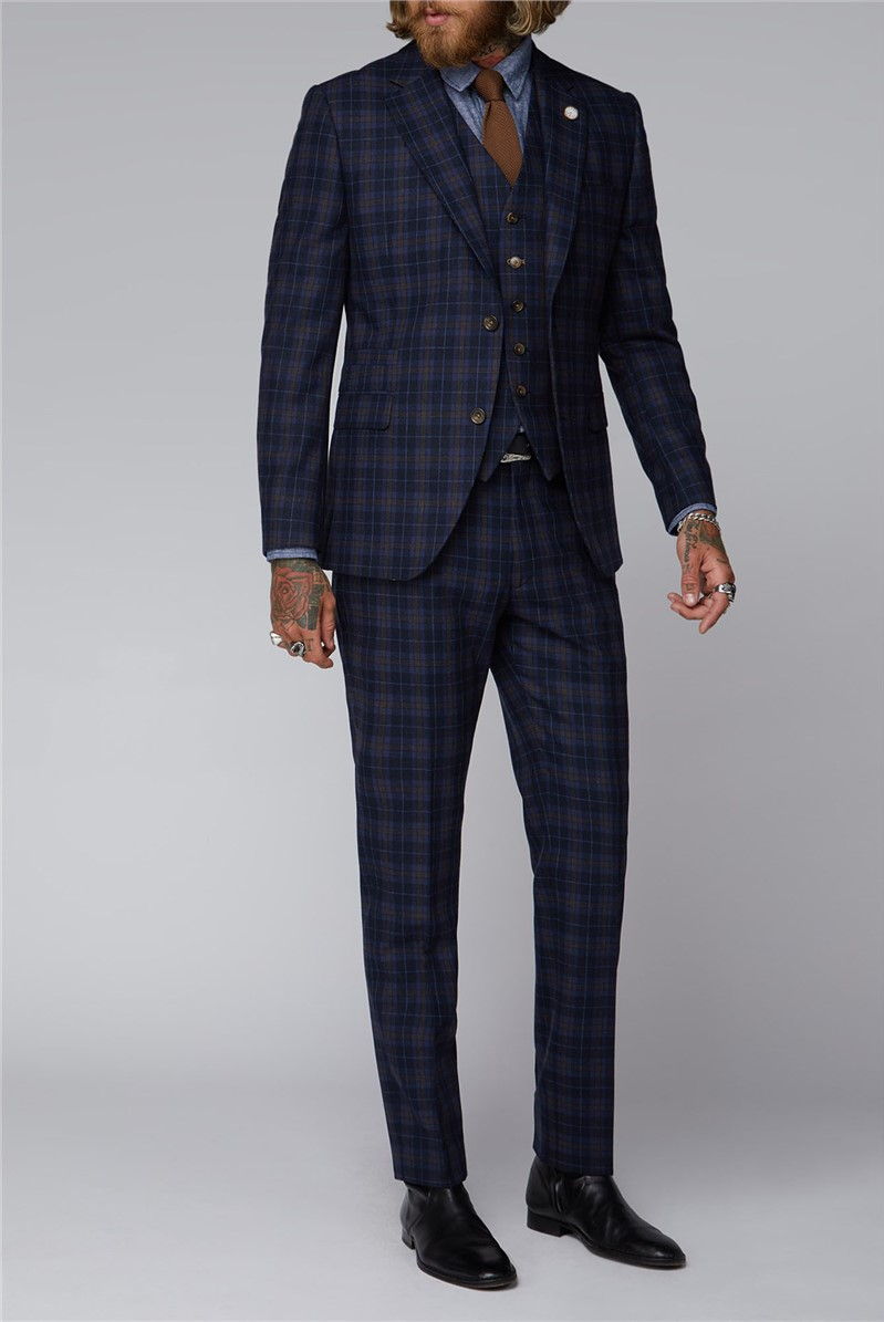 Blue and Brown Tartan Check Suit