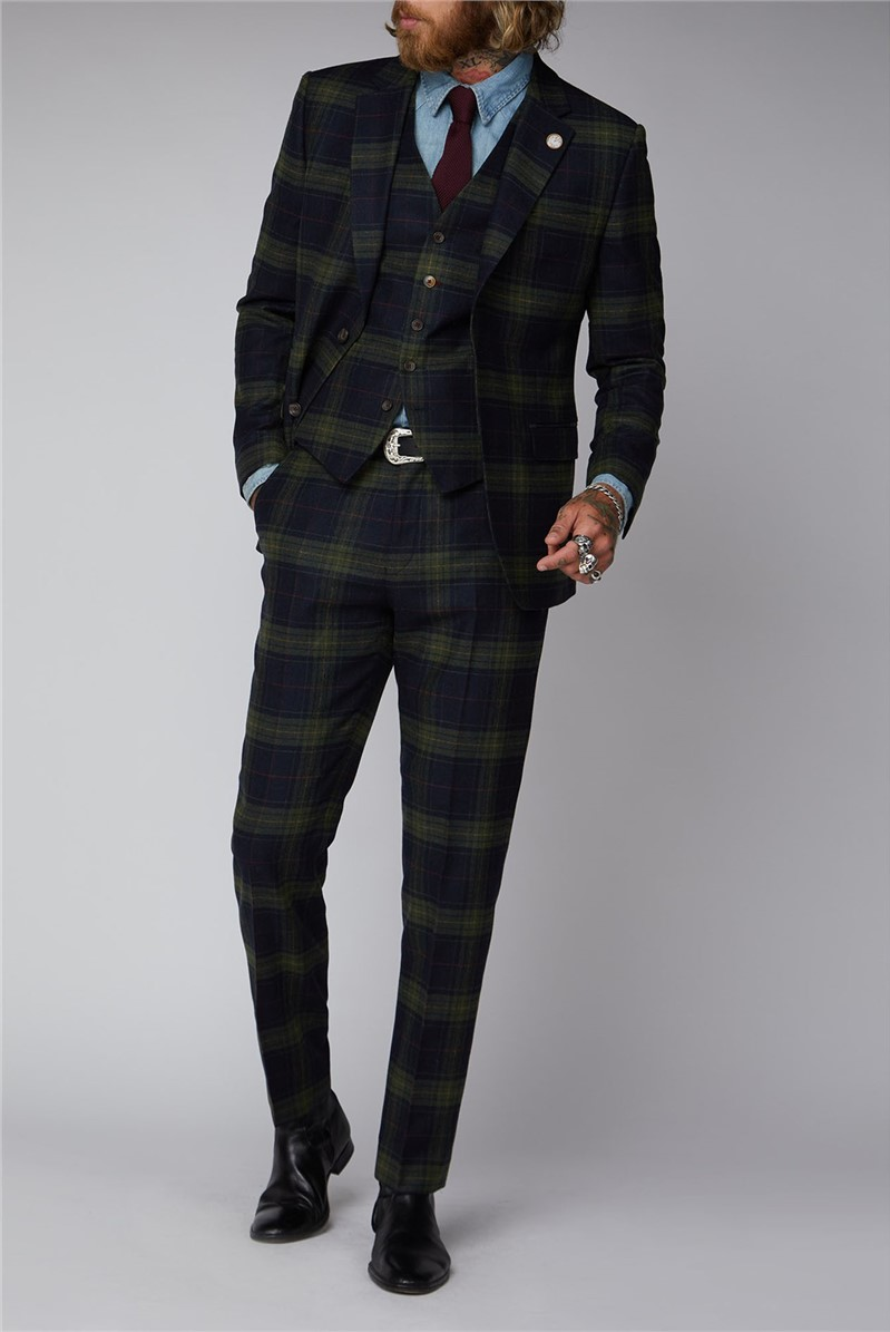 Green Black and Red Tartan Suit