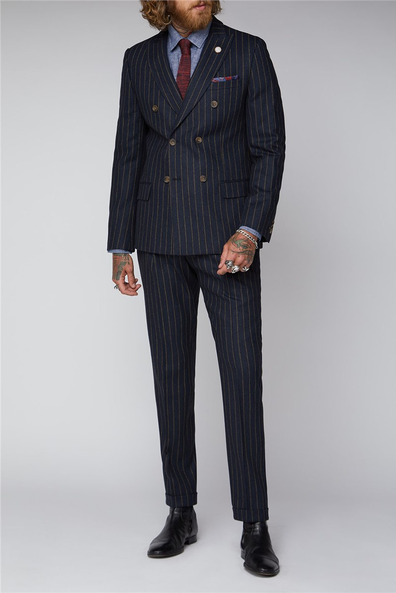 Navy Chalk Stripe Double Breasted Suit