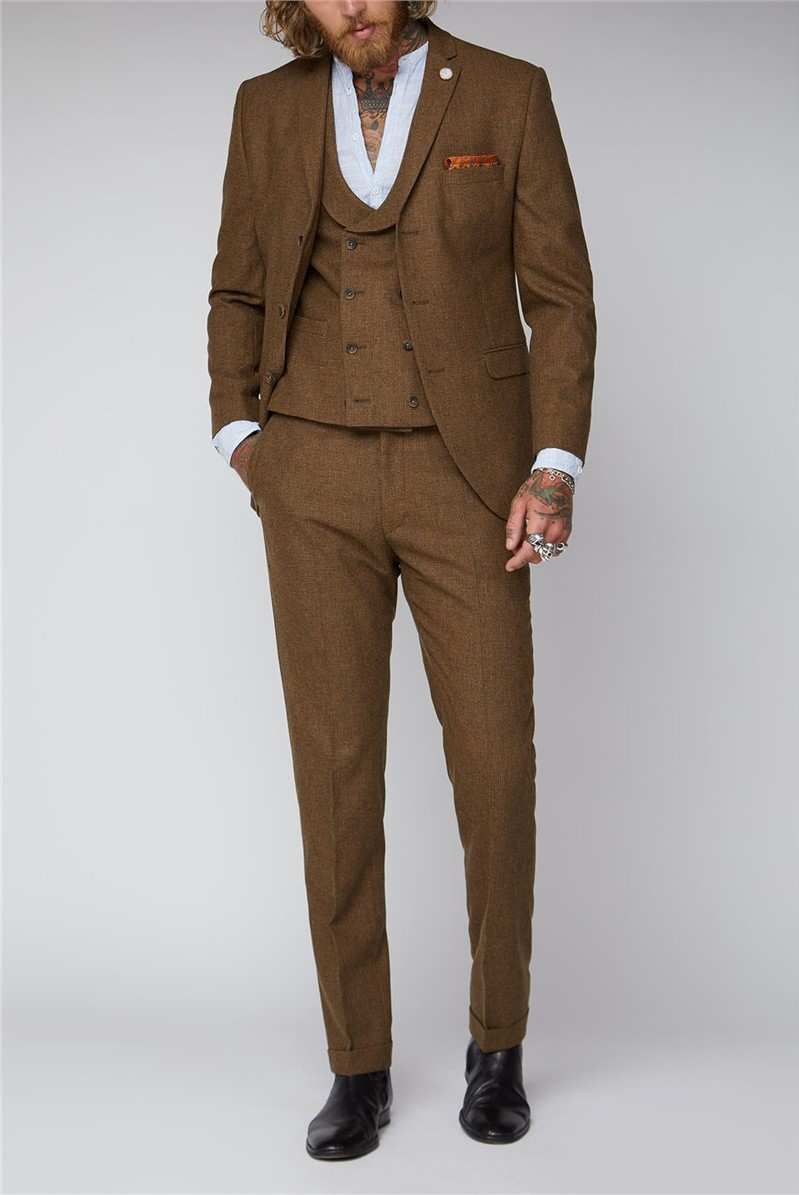 Old Gold Puppytooth Tweed Suit