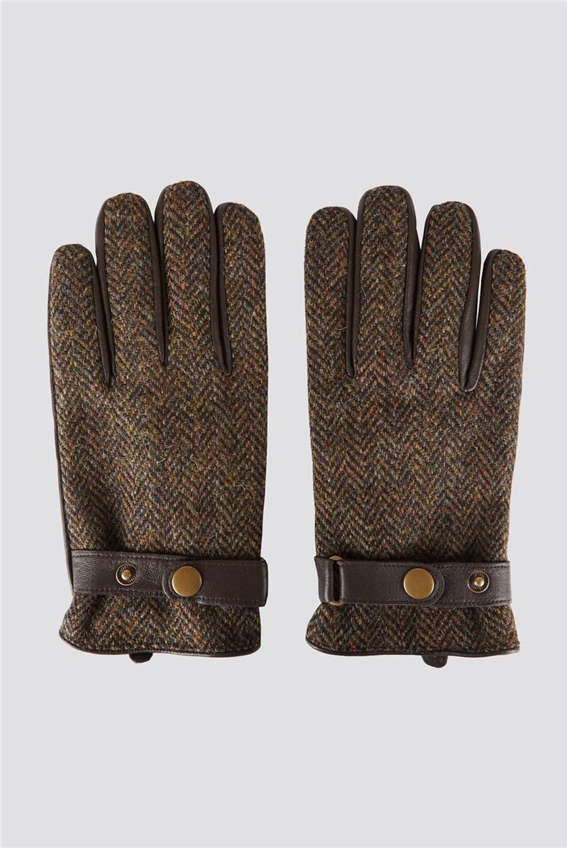 Brown Harris Tweed and Leather Gloves
