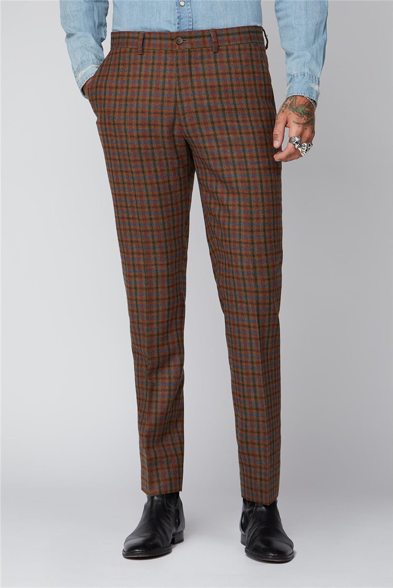 Tan, Teal and Orange Graph Check Trousers