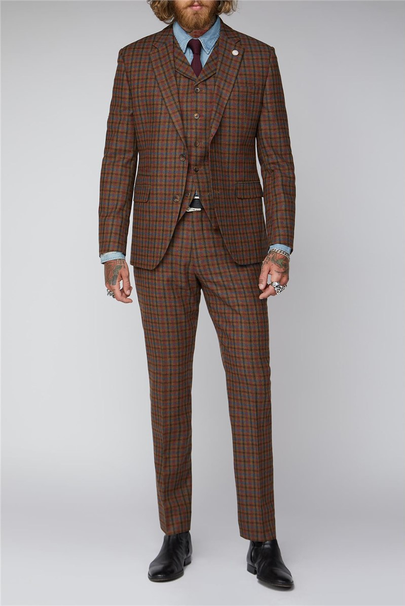 Tan, Teal and Orange Check Suit