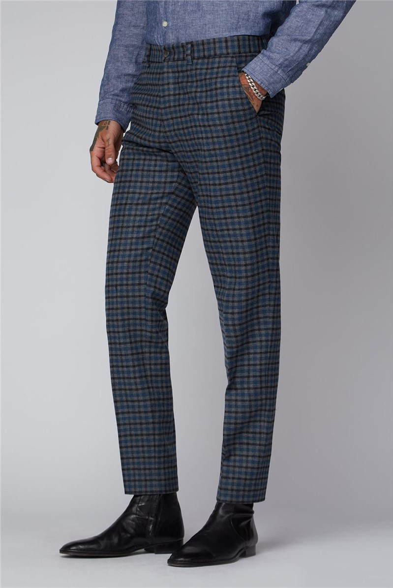 Grey Black and Teal Graph Check Trousers