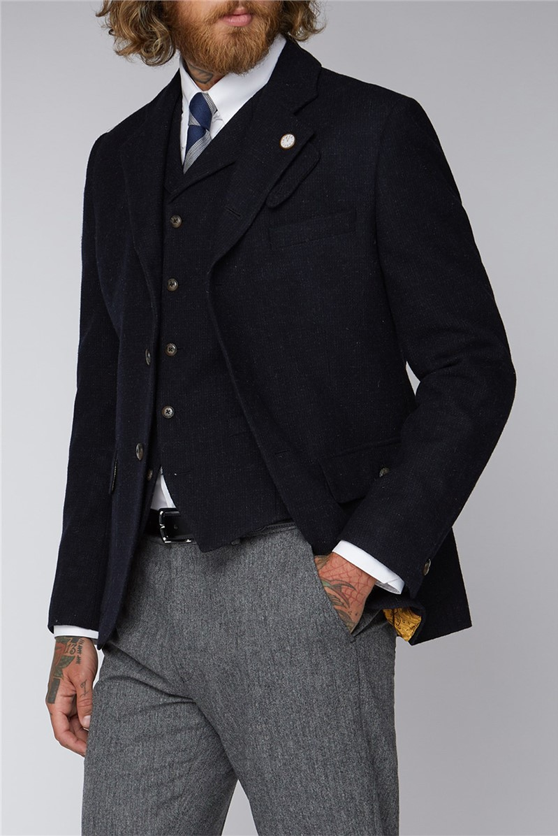 Gibson London NAVY AND BLACK MINI CHECK JACKET