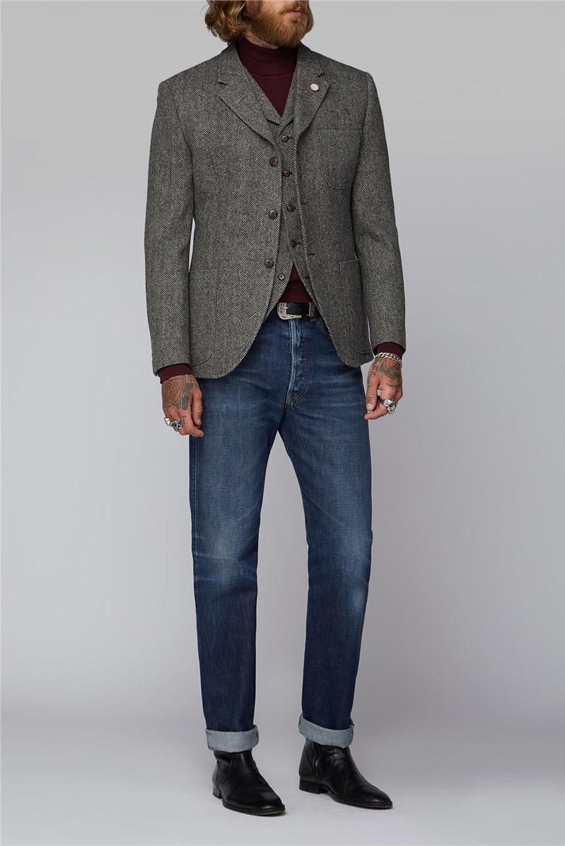 Charcoal and Ecru Herringbone Jacket