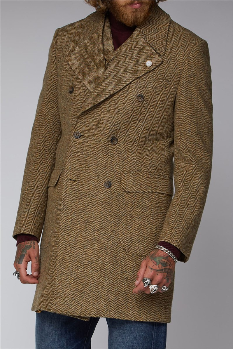 Gold & Taupe Herringbone Overcoat