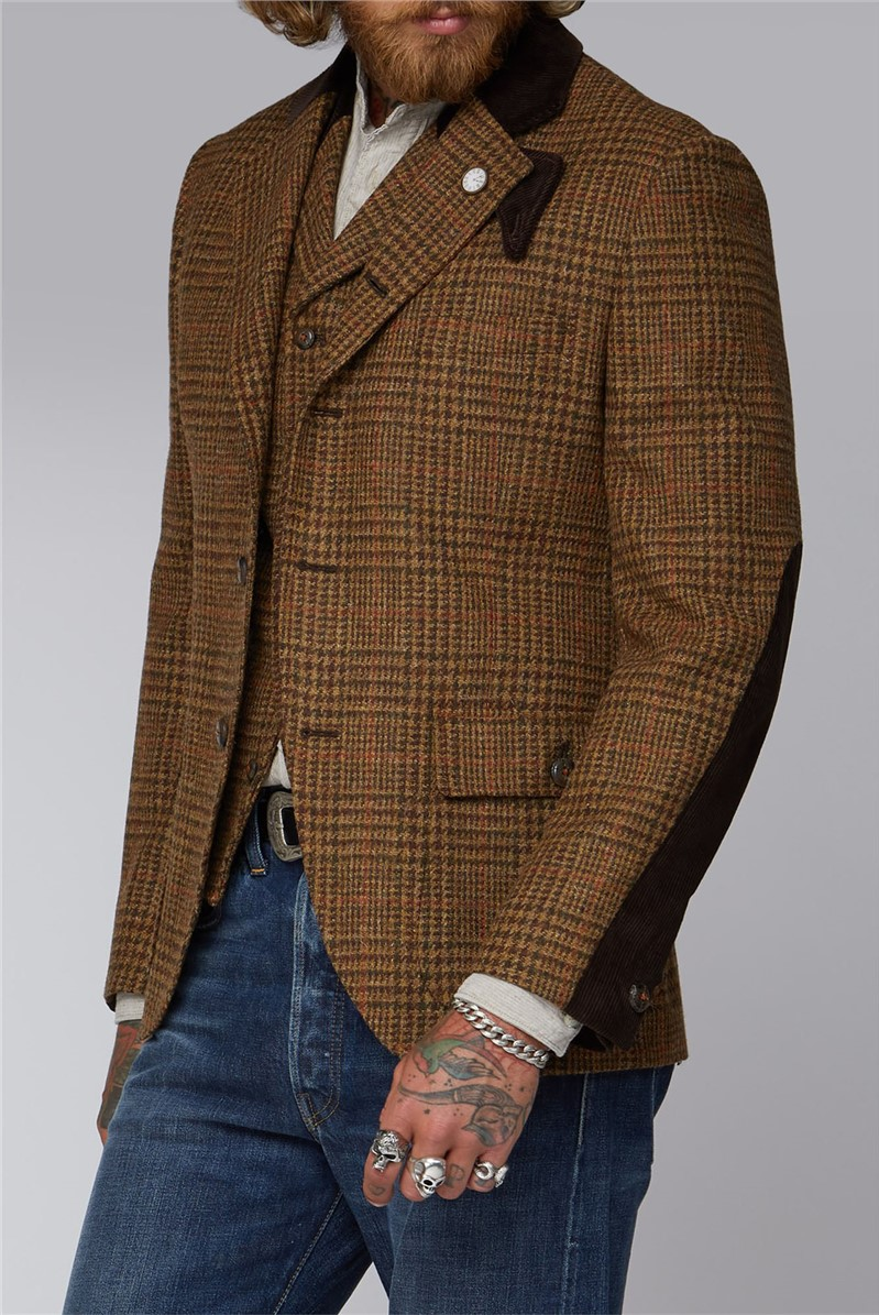 Gibson London TAN WITH BROWN AND ORANGE CHECK JACKET