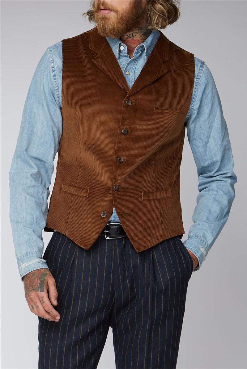 Tan Cord Waistcoat