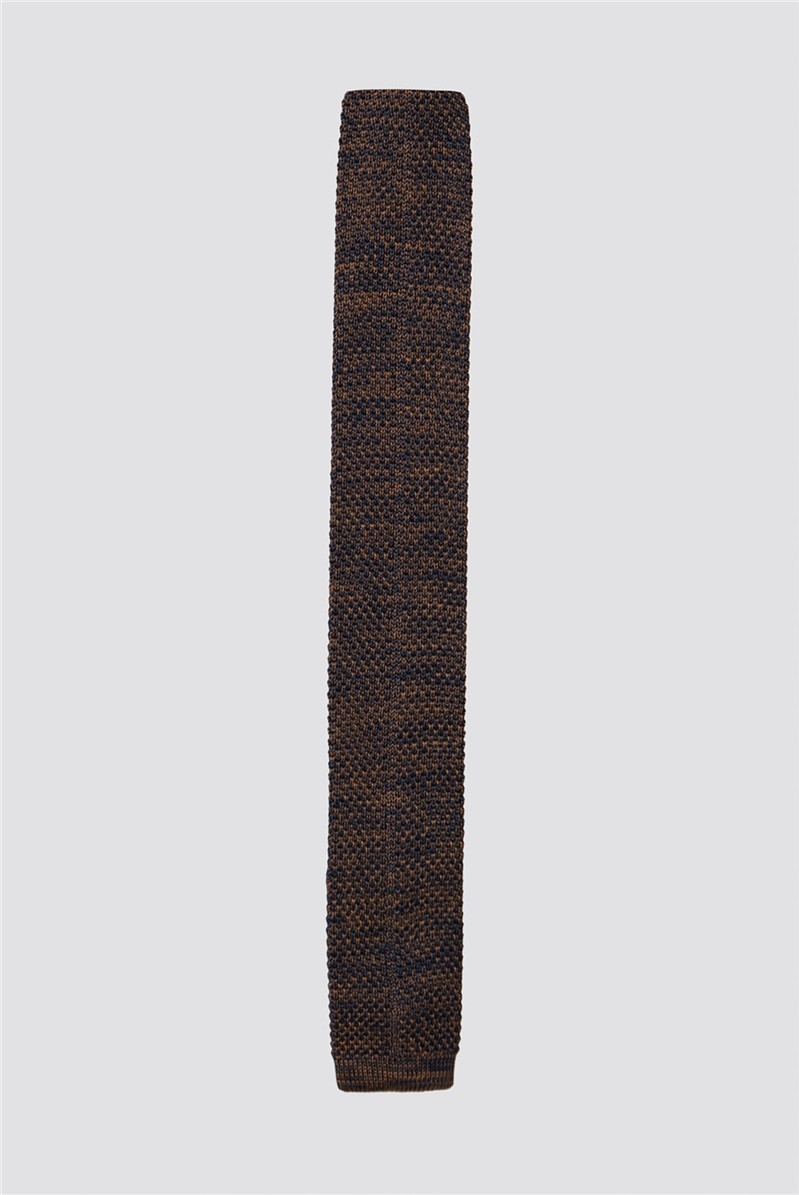 Fawn and Navy Melange Knit Tie