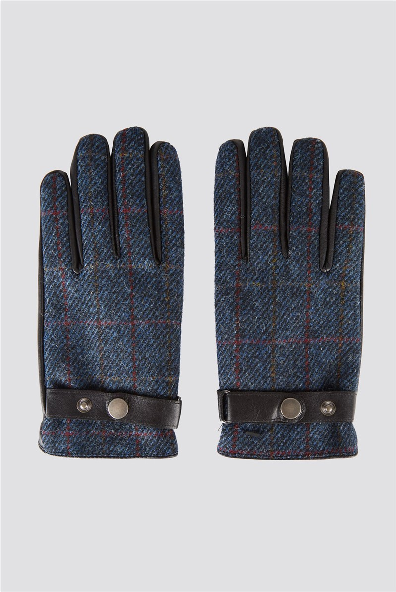 Blue Check Harris Gloves