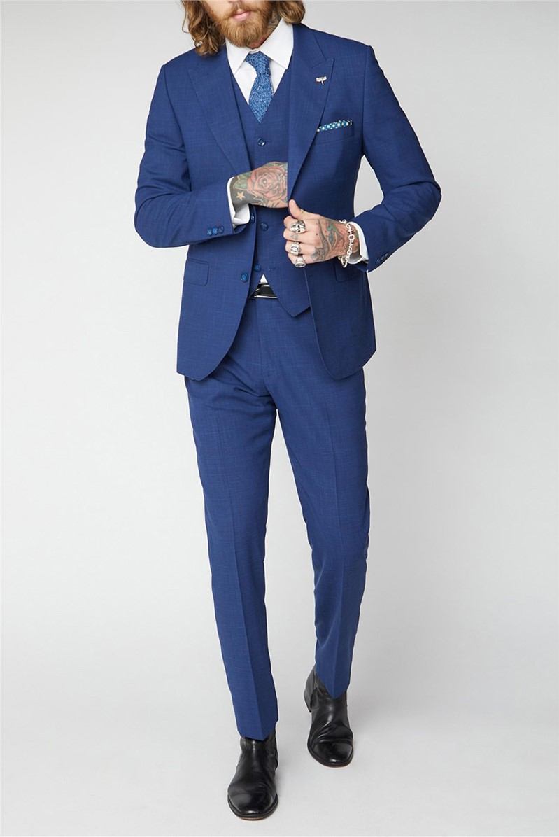 Blue Textured Suit