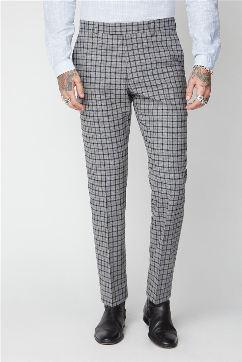 Grey, Navy and Brown Check Trousers