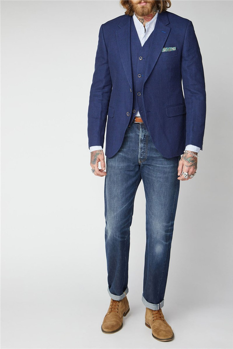 Blue Textured Jacket