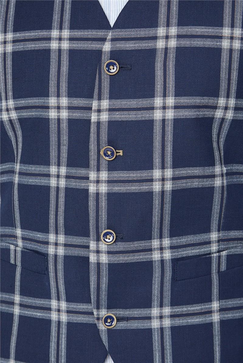 Navy, Grey and Tan Windowpane Check Jacket