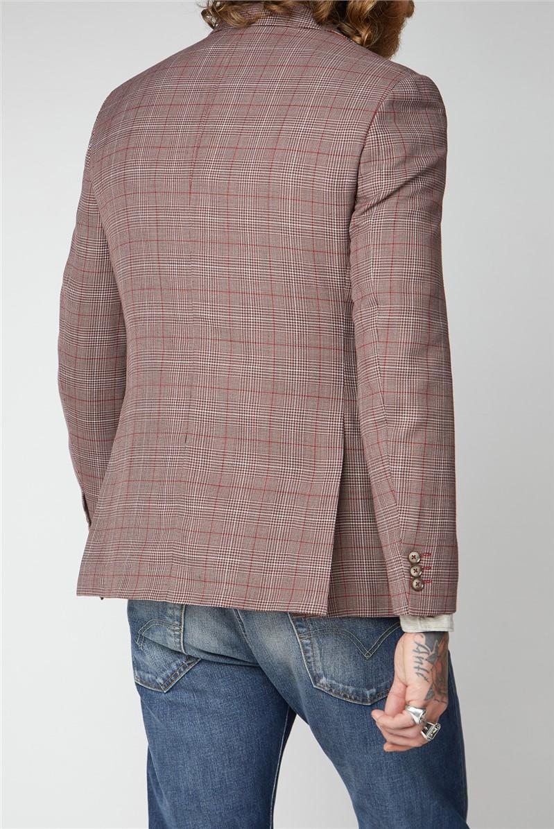 Burgundy and Grey Windowpane Check Waistcoat