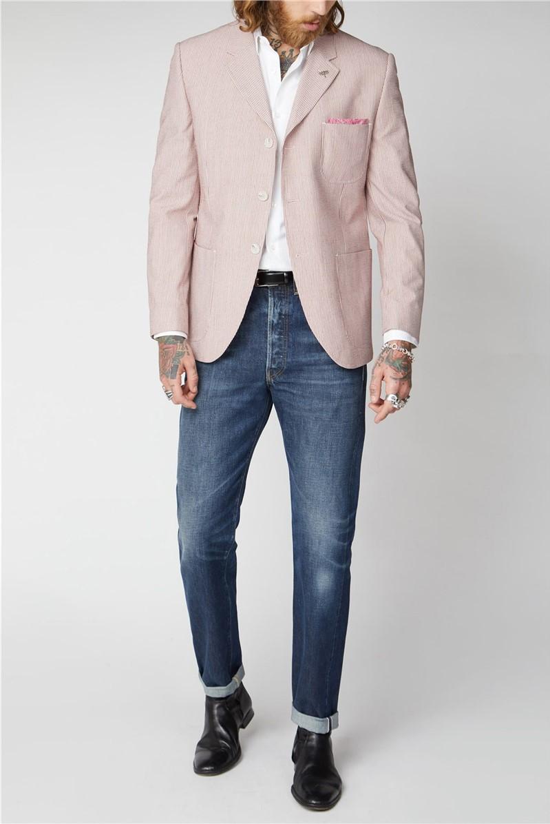 Pink Seersucker Stripe Jacket.