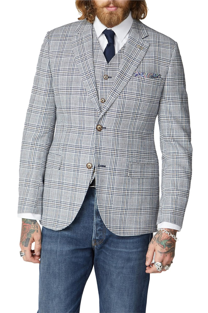 Navy, Cream and Fawn Checked Jacket