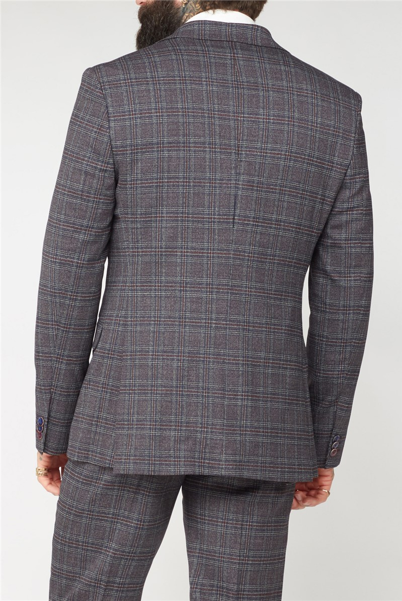 Burgundy and Grey Mouline Suit