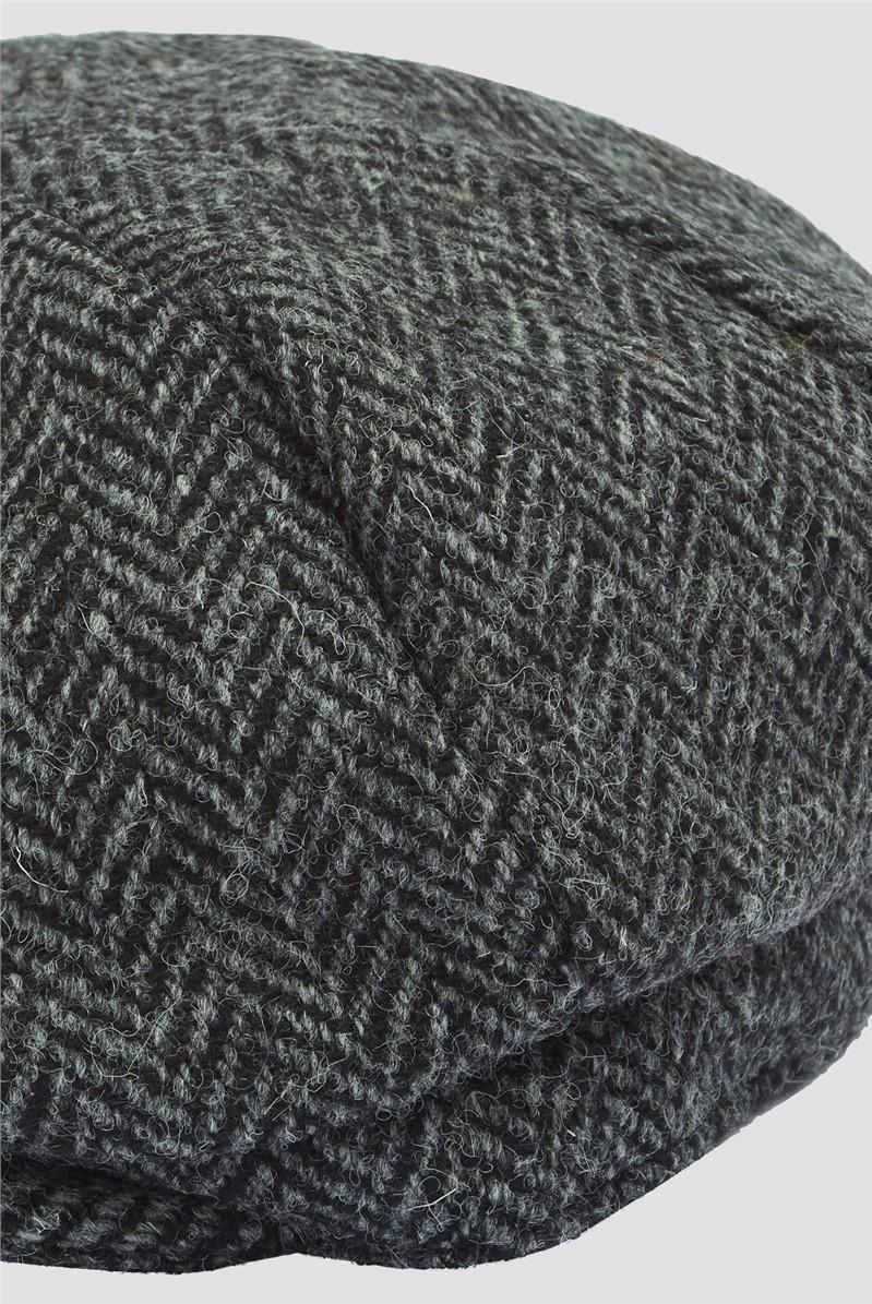 Grey Harris Tweed Baker Boy Hat