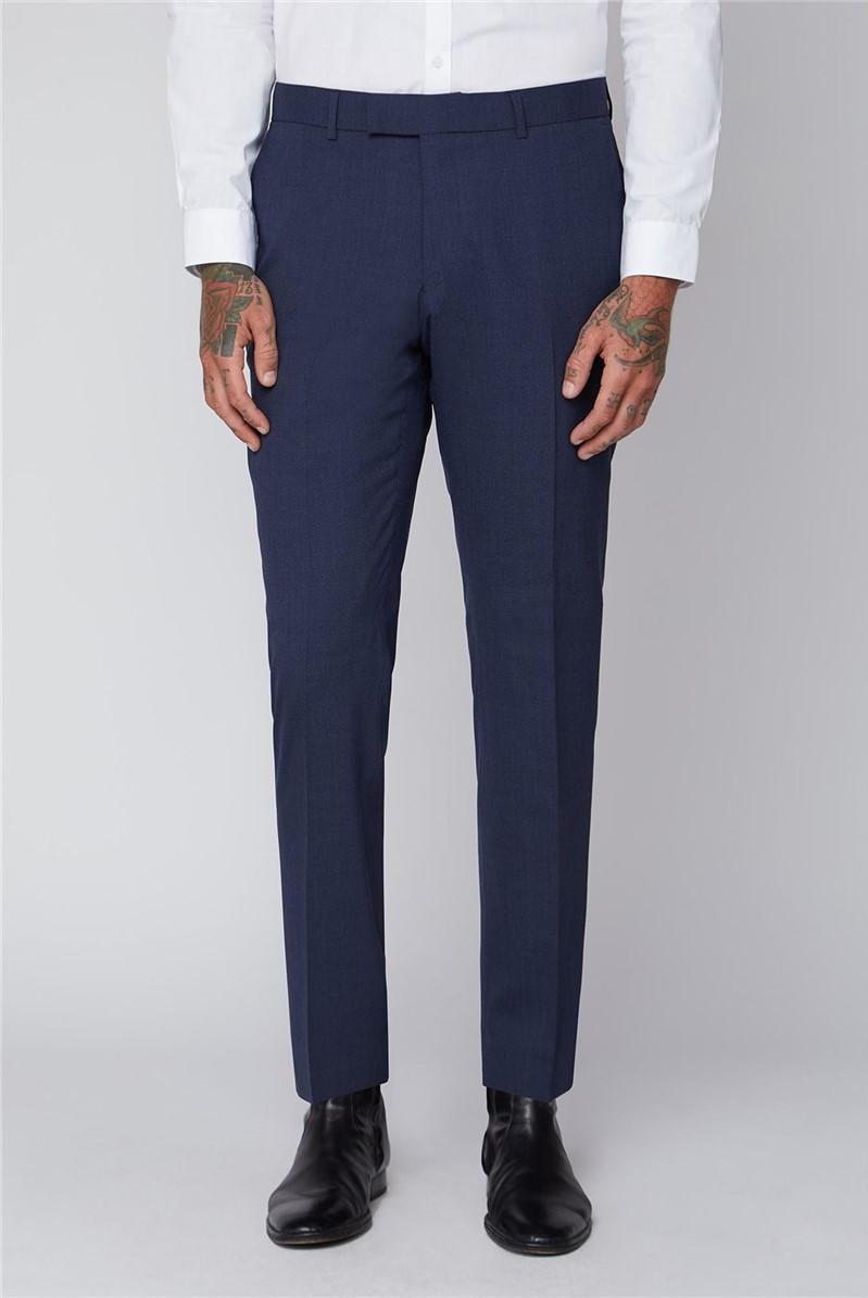 Blue Semi Plain Tailored Fit Trousers