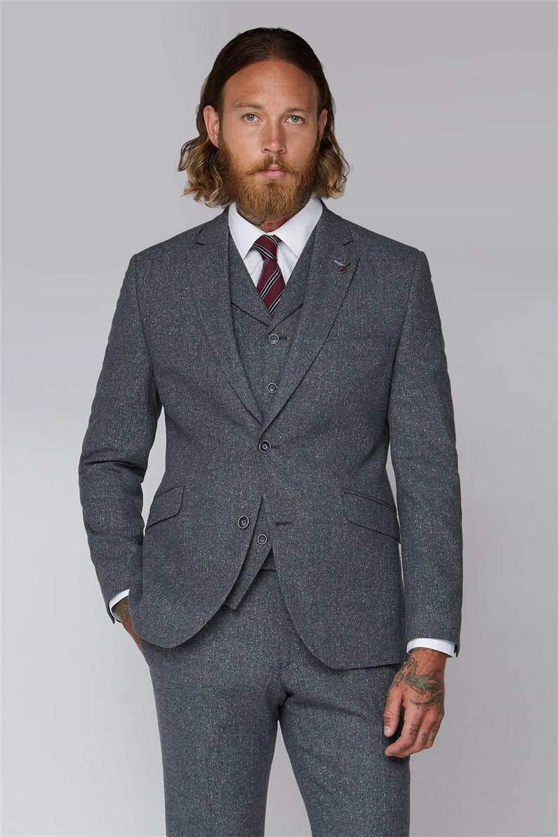 Grey Tweed Slim Fit Tyburn Waistcoat