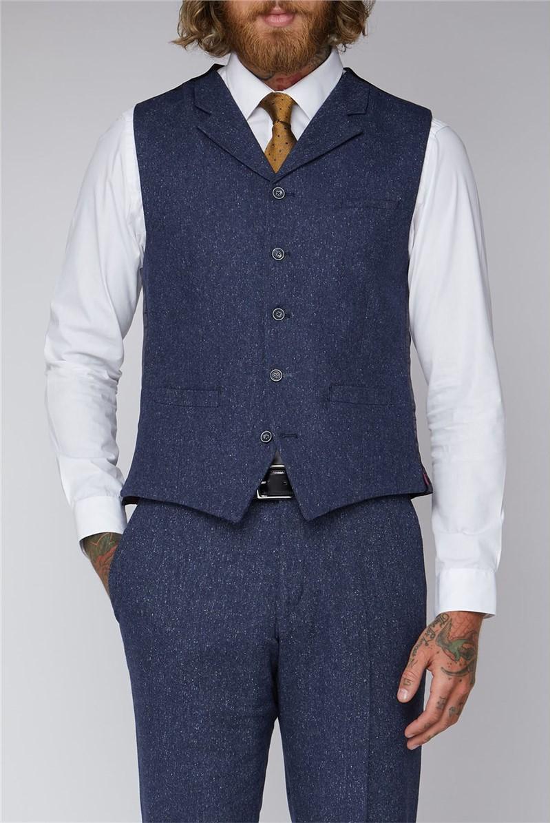 Blue Tweed Slim Fit Tyburn Waistcoat