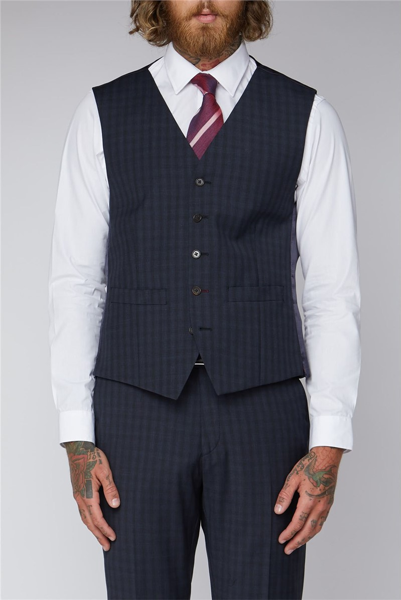 Blue Checked Tailored Fit Waistocat