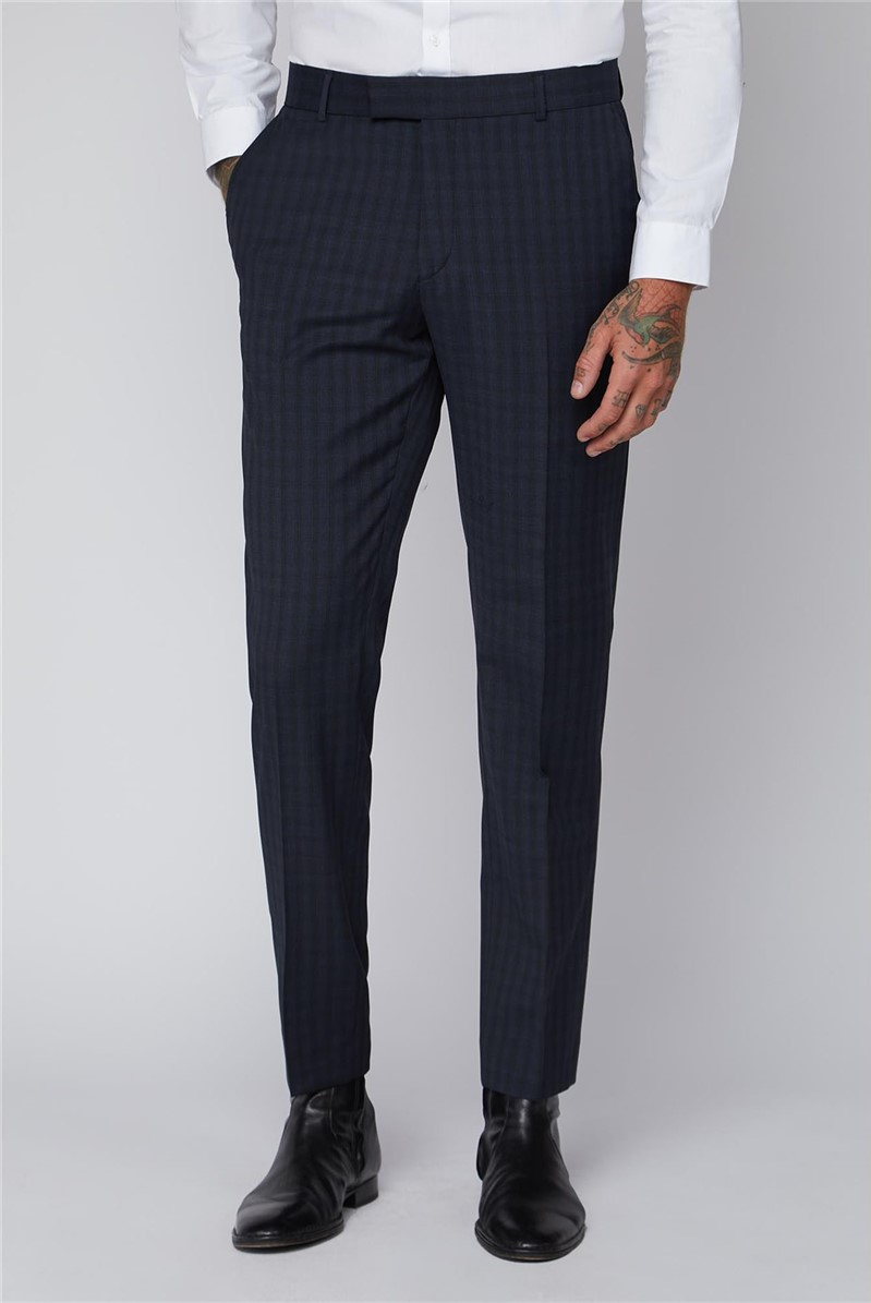 Blue Checked Slim Fit Trousers