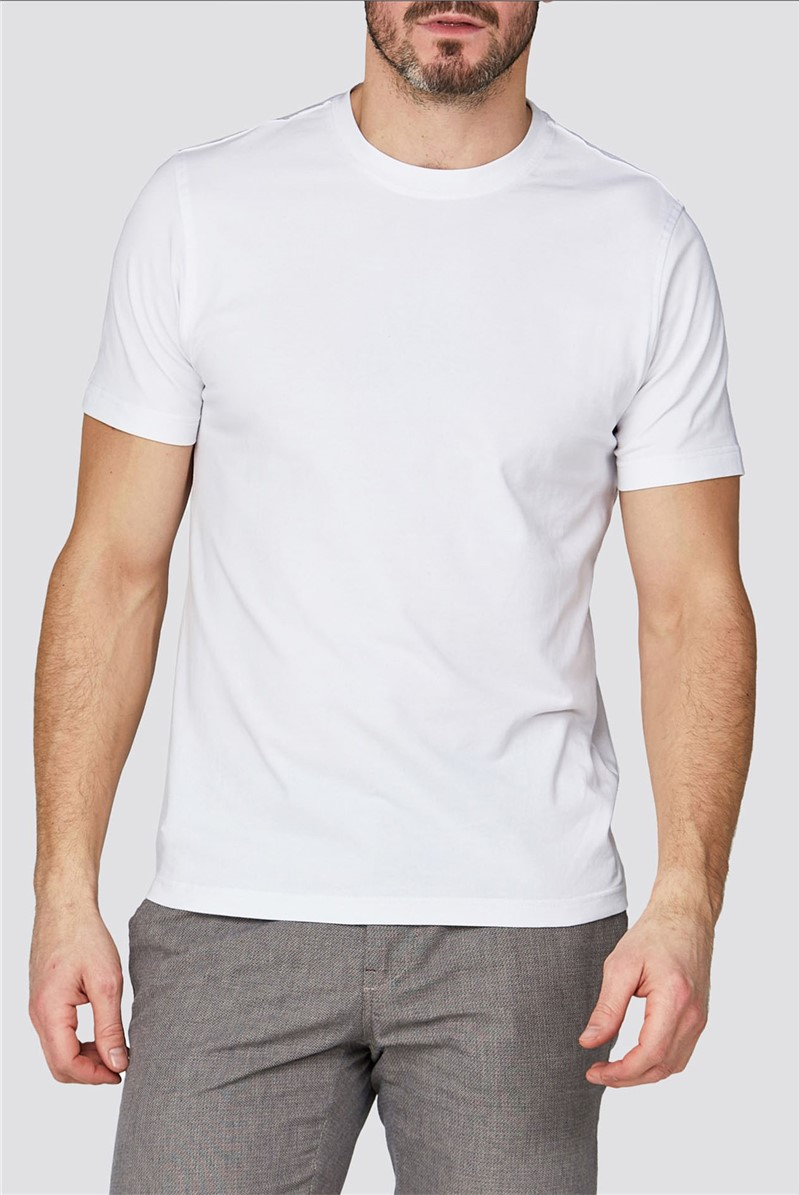 White Crew Neck Stretch T-Shirt