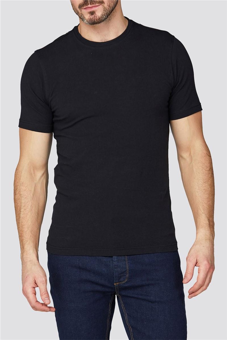 Black Crew Neck Stretch T-Shirt
