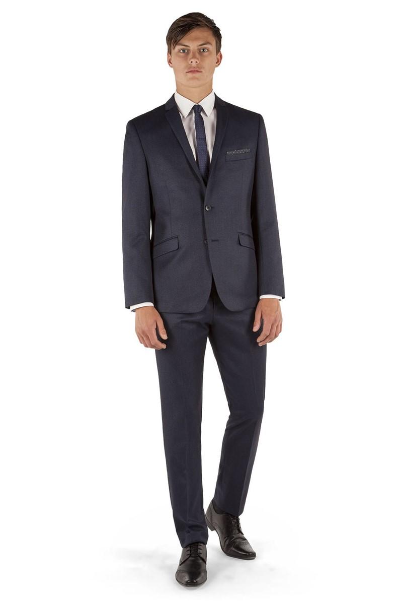 Blue Textured Slim Fit Suit