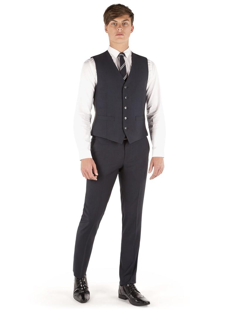 Navy Micro Design Slim Fit Waistcoat